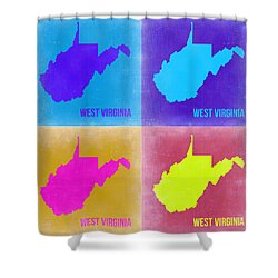 West Virginia Pop Art Map 2 Shower Curtain by Naxart Studio