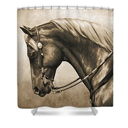 Western Horse Painting In Sepia Shower Curtain by Crista Forest