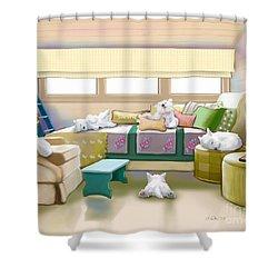 Westie Retreat  Shower Curtain by Catia Cho
