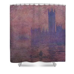 Westminster Tower Shower Curtain by Claude Monet