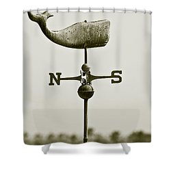 Whale Weathervane In Sepia Shower Curtain by Ben and Raisa Gertsberg