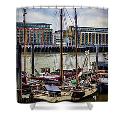 Wharf Ships Shower Curtain by Heather Applegate