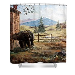 What Now Shower Curtain by Lee Piper