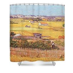 Wheatfields Shower Curtain by Vincent van Gogh