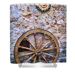 Wheel And Sun In Taromina Sicily Shower Curtain by David Smith