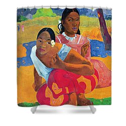 When Are You Getting Married Shower Curtain by Paul Gauguin