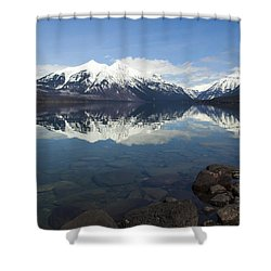 When The Sun Shines On Glacier National Park Shower Curtain by Fran Riley