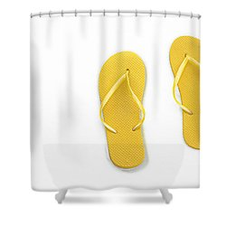 Where On Earth Is Spring - My Yellow Flip Flops Are Waiting Shower Curtain by Andee Design