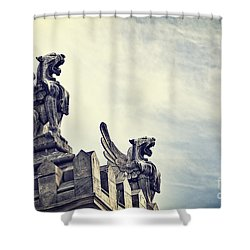 Where The Lions Roar Shower Curtain by Ivy Ho