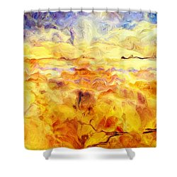While Taking A Walk Shower Curtain by Jack Zulli