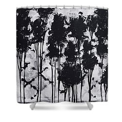Whimsical Black And White Landscape Original Painting Decorative Contemporary Art By Madart Studios Shower Curtain by Megan Duncanson