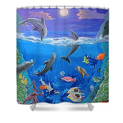 Whimsical Original Painting Undersea World Tropical Sea Life Art By Madart Shower Curtain by Megan Duncanson