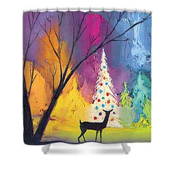 White Christmas Tree Shower Curtain by Munir Alawi
