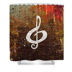 White Clef Shower Curtain by Carmen Guedez