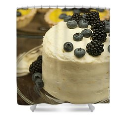 White Frosted Cake With Berries Shower Curtain by Juli Scalzi