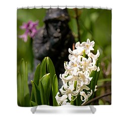 White Hyacinth In The Garden Shower Curtain by  Onyonet  Photo Studios