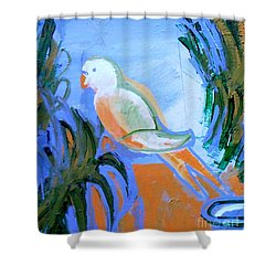 White Parakeet Shower Curtain by Genevieve Esson