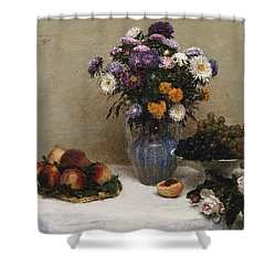 White Roses And Chrysanthemums Shower Curtain by Ignace Henri Jean Fantin-Latour