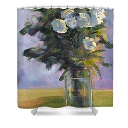 White Roses Shower Curtain by Nancy Merkle