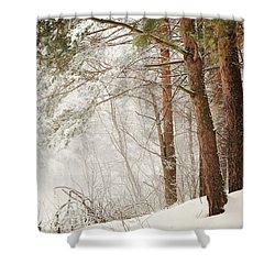 White Silence Shower Curtain by Jenny Rainbow