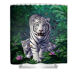 White Tigers Shower Curtain by Jerry LoFaro