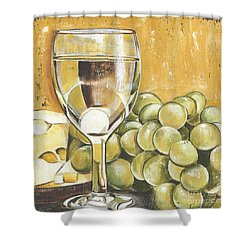 White Wine And Cheese Shower Curtain by Debbie DeWitt