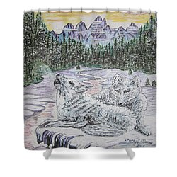White Wolves Shower Curtain by Kathy Marrs Chandler