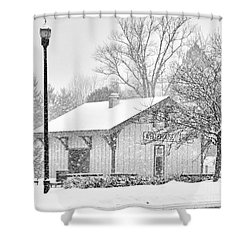 Whitehouse Train Station Shower Curtain by Jack Schultz