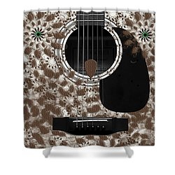 Who Are You - Owl Abstract Guitar Shower Curtain by Andee Design