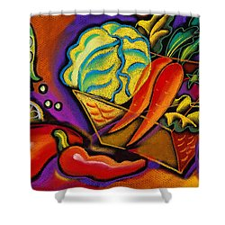 Very Healthy For You Shower Curtain by Leon Zernitsky
