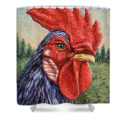 Wild Blue Rooster Shower Curtain by James W Johnson