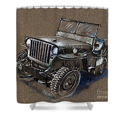 Willys Car Drawing Shower Curtain by Daliana Pacuraru