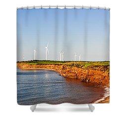 Wind Turbines On Atlantic Coast Shower Curtain by Elena Elisseeva