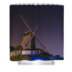 Windmill At Night Shower Curtain by Juli Scalzi