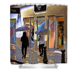 Window Shopping In The Rain Shower Curtain by Ben and Raisa Gertsberg