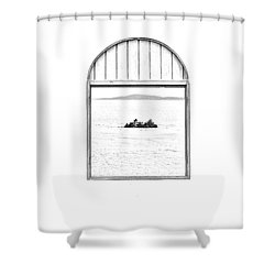 Window View Of Desert Island Puerto Rico Prints Black And White Line Art Shower Curtain by Shawn O'Brien