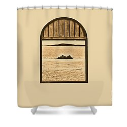 Window View Of Desert Island Puerto Rico Prints Rustic Shower Curtain by Shawn O'Brien