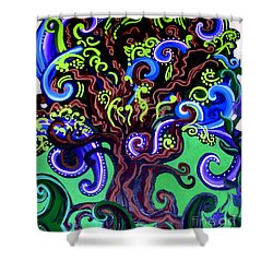 Windy Blue Green Tree Shower Curtain by Genevieve Esson
