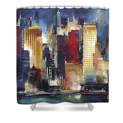 Windy City Nights Shower Curtain by Kathleen Patrick