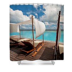 Windy Day At Maldives Shower Curtain by Jenny Rainbow