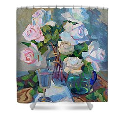 Wine And Roses Shower Curtain by Diane McClary
