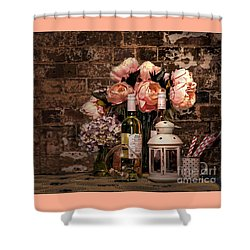 Wine And Roses Shower Curtain by Kaye Menner