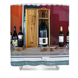 Wine Display Shower Curtain by Sally Weigand