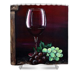 Red Wine Sunset Shower Curtain by Dani Abbott