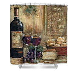Wine For Two Shower Curtain by Marilyn Dunlap