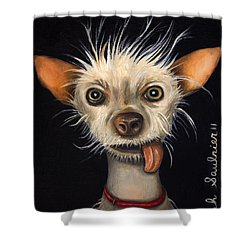 Winner Of The Ugly Dog Contest 2011 Shower Curtain by Leah Saulnier The Painting Maniac