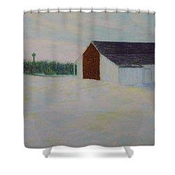 Winter At Mcphersons Barn Gettysburg Shower Curtain by Joann Renner