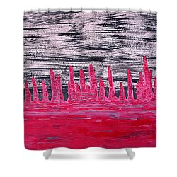 Winter Hoodoos Original Painting Shower Curtain by Sol Luckman