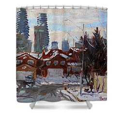 Winter In Mississauga  Shower Curtain by Ylli Haruni
