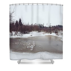 Winter Landscape With Trees And Frozen Pond Shower Curtain by Matthias Hauser